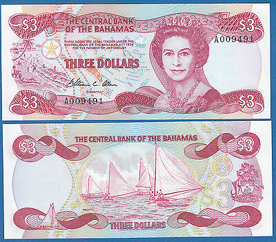Bahamas 3 Dollars P 44 a L. 1974 (1984) UNC Sign. WC Allen Low Ship Combine FREE
