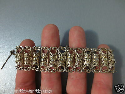 ANTIQUE SILVER FILIGREE GILDED Early 20th Century OTTOMAN WOMEN'S FOLK BRACELET