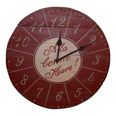 "13 1/2""  Wooden Wall Clock , French vintage design ""A la Bonne Heure"""
