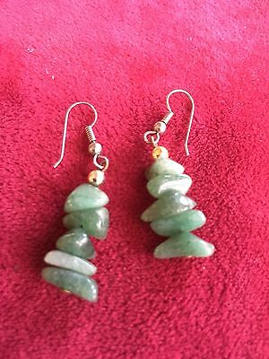 Grandmas Estate Jade Pierced Drop Vintage Earrings (6/16)