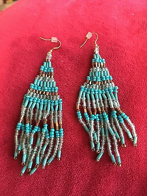 "Grandmas Estate Turquoise 3"" Pierced Vintage Earrings (6/16)"