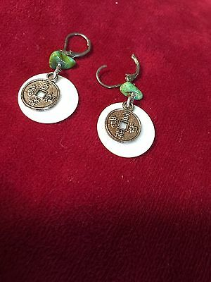 Grandmas Estate Asian Jade MOP Drop Earrings (6/16)