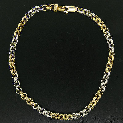"14K Solid Two Tone Gold 5.15mm Open Rolo Link 10"" Ankle Bracelet Anklet 7.9g"