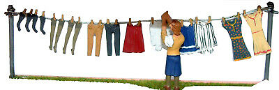 O Scale Unpainted Model Kits OF7 Washing Line, Clothes & Figure 1930/50's