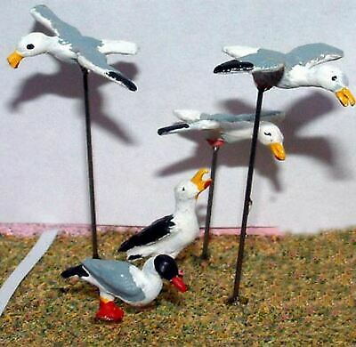 O Scale Model READY MADE & PAINTED 5 Seagulls Only (Random Selected) L28p