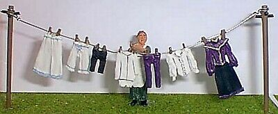 O Scale Unpainted Model Kits OF7a Washing line, clothes & figure Victorian