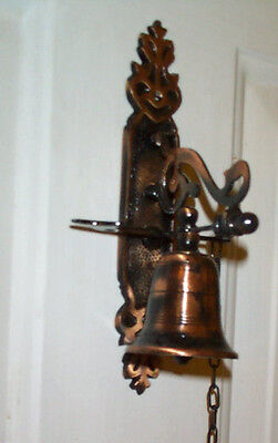 """Antiqued Brass Door Bell with Chain, Old Vintage Style 8 1/8"""" NIP with Hardware"""