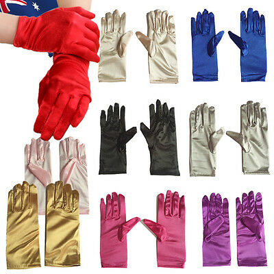 Lady Gloves Wedding Party Faux Satin Fancy Dress Prom Bridal Evening  CGLO303
