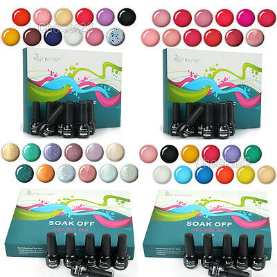 12x Nail Art Beauty Color Soak off Polish UV Glitter Gel Lamp Tips Decor Set NEW