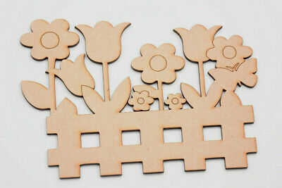 Wooden MDF Fence Shape with Flowers Craft Flower Box Craft Blank Garden Fence