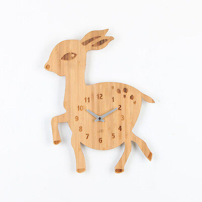 LOO Natural Bamboo Wood Animal Wall Clock Deer