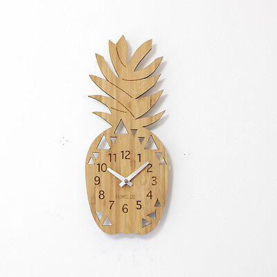 LOO Natural Bamboo Wood Wall Clock Pineapple Fruit