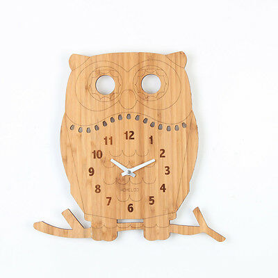 LOO Natural Bamboo Wood Animal Bird Wall Clock Owl