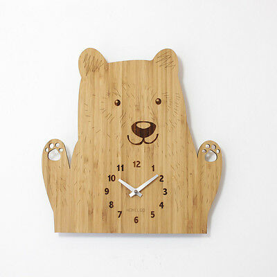 LOO Natural Bamboo Wood Animal Wall Clock Cute Bear