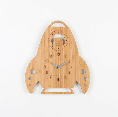 LOO Natural Bamboo Wood Wall Clock Rocket