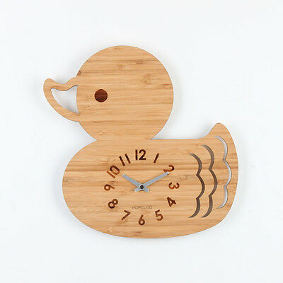 LOO Natural Bamboo Wood Animal Wall Clock Duck