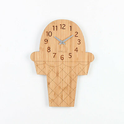 LOO Natural Bamboo Wood Wall Clock Ice Cream
