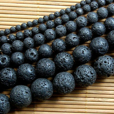 "Natural Nature Black Volcanic Lava Gemstone Round Beads 15""   GTAU"