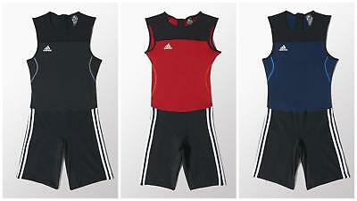Adidas Weightlifting Climalite Suit Mens Singlet Suit Red Navy Black