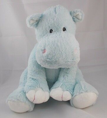 """Animal Alley Blue Hippo Plush Sits 12"""" 2010"""