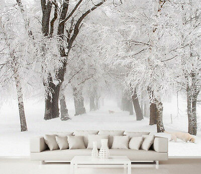 3D Snow Forest Wall Paper Wall Print Decal Wall Deco Indoor Murals