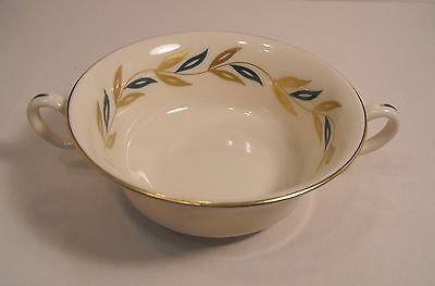 Castleton China Alberta Cream Footed Soup Bowl  Double Handles Made in U.S.A.