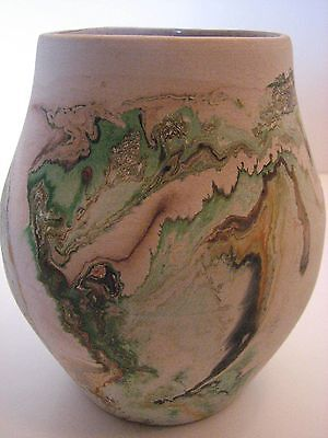 "Vintage NEMADJI Pottery Vase-Bulbous Form-Green-Brown-Copper Colors 5 1/4"" tall"