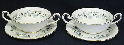 2 High Quality Tuscan Moonlight Handled Soup Bowls & Undertrays - more available