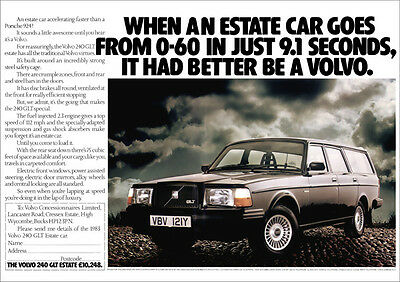 Volvo 240 Glt Estate Retro A3 Poster Print From Classic 80's Advert