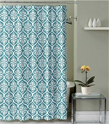 Teal Blue Beige White Decorative Fabric Shower Curtain with hooks