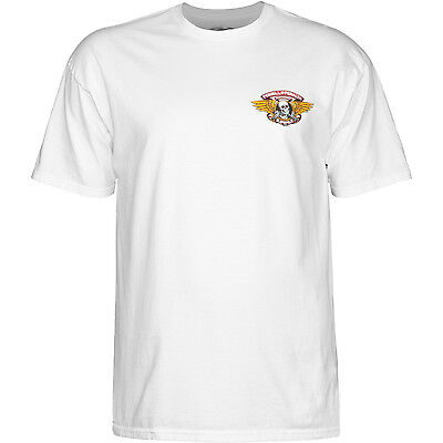 """New POWELL PERALTA """"Winged Ripper"""" Skateboard T-Shirt (White) Size XL"""