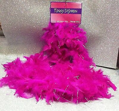 Carnevale Halloween Boa Charleston Piume Fucsia Fili Argento Feather Boa