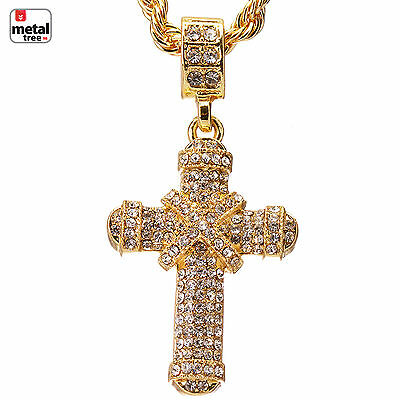 "Men's Iced Out 14k Gold Plated Cross Pendant 24"" Rope Chain Necklace HC 1104 G"