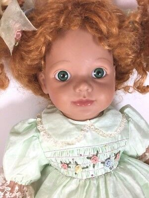 Seymour Mann Red Haired Doll Hug N Hold Pigtails Smocked Dress Musical Wind Up