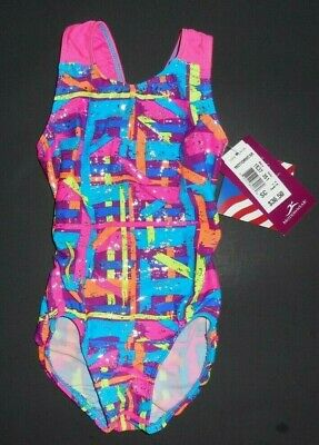 NWT 1537 Gymnastic Leotard Multi-Color Silver Cut Out Back Fuchsia Wide Straps