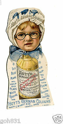 Victorian Trade Card HOYTS GERMAN COLOGNE die-cut kid in glasses Rubifoam