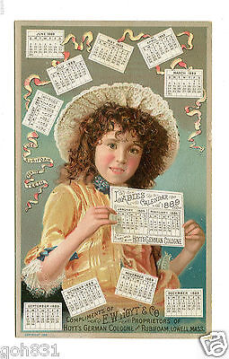 Victorian Trade Card HOYTS GERMAN COLOGNE 1889 Ladies Calendar brunette girl