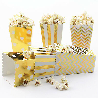 36pcs Shiny Gold/Silver Popcorn Snack Boxes for Home Theater/Movies/Party Supply