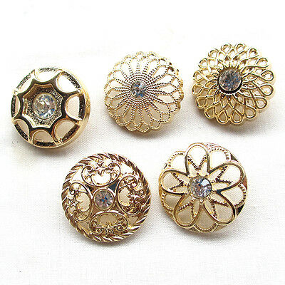 5/20pcs Gold Alloy Rhinestone Hollow Buttons 25mm Sewing Craft
