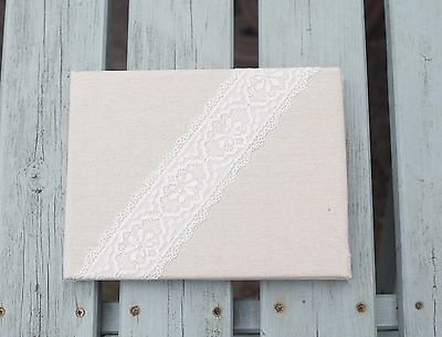 Vintage Style Linen and Lace Wedding Christening Party Guest Book