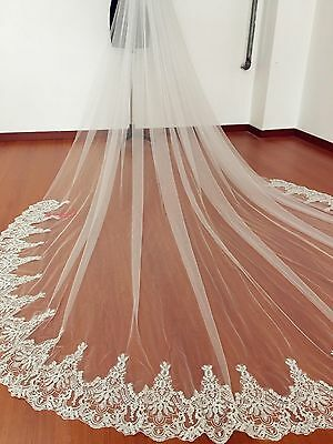 New 1T 3M Cathedral Ivory Elegant Lace Edge Long Wedding Veil Accessories+comb