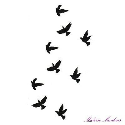 Flock of Birds Removable Temporary Tattoo Body Art 106x61mm
