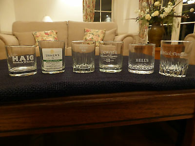 SCOTCH WHISKY GLASSES 6 Collectible Whisky tumblers, All in Beautiful condition