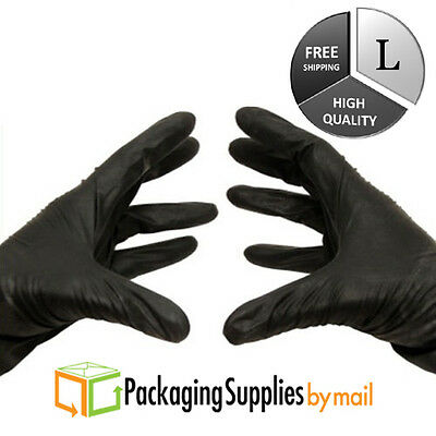 ( 1000 ) Black Nitrile Medical Exam Gloves Powder-Free 4 Mil Thick Large Size