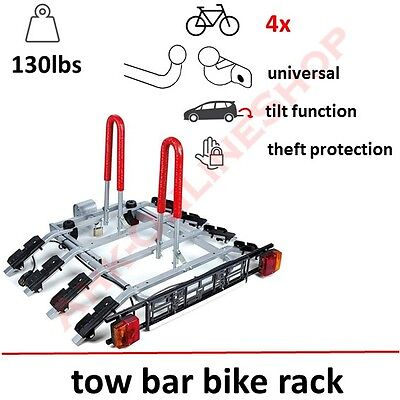 Towbar Mounted Bike Rack for 4 Four Cycle Carrier Steel Hitch Mount High QUALITY