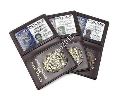 Resident Evil Police Metal Badge With Id Game Leather Wallet Holder Case Badge