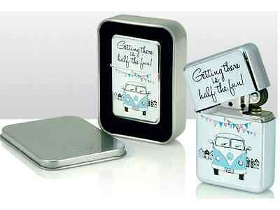 VW Campervan Retro 'Getting There is Half the Fun' Windproof Lighter In Tin