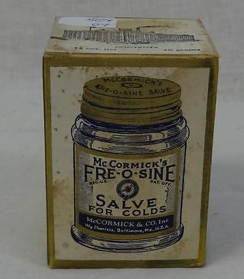 Antique McCormick Fre-O-Sine Salve Package Great Graphics