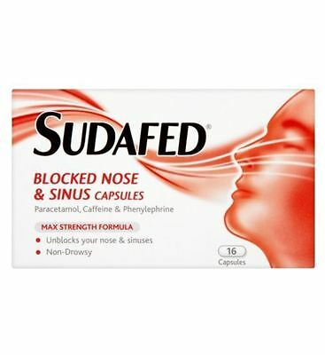 16 x Sudafed Blocked Nose & Sinus Max Strength Capsules Non Drowsy