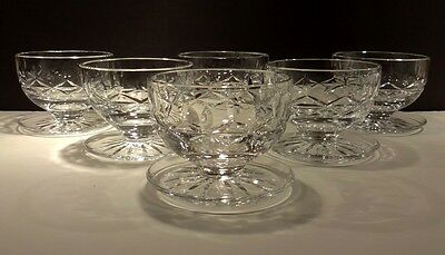 6 Vintage Waterford Crystal Rosslare Footed Grapefruit Dessert Dishes